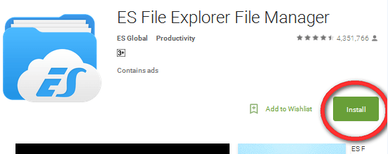 Image 1- Install ES File explorer app play store