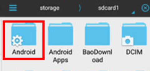 image 2 now find the folder name Android