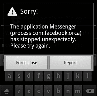 process com fb messanger has stopped